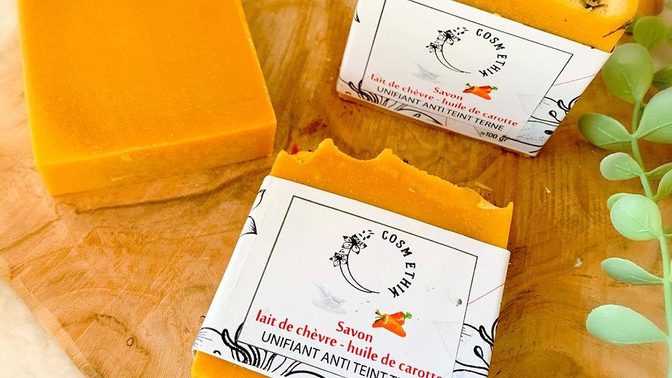 Savon  Lait de chèvre Huile de carotte (unifiant anti teinte terne )