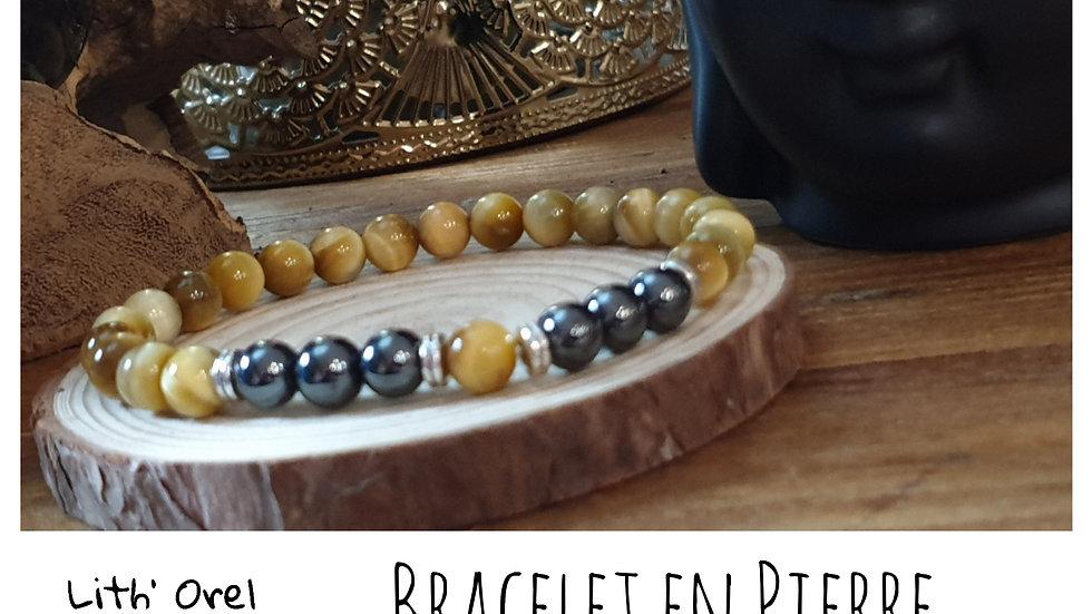 Bracelet Pierre de Lune et Oeil de Tigre couleurs au choix