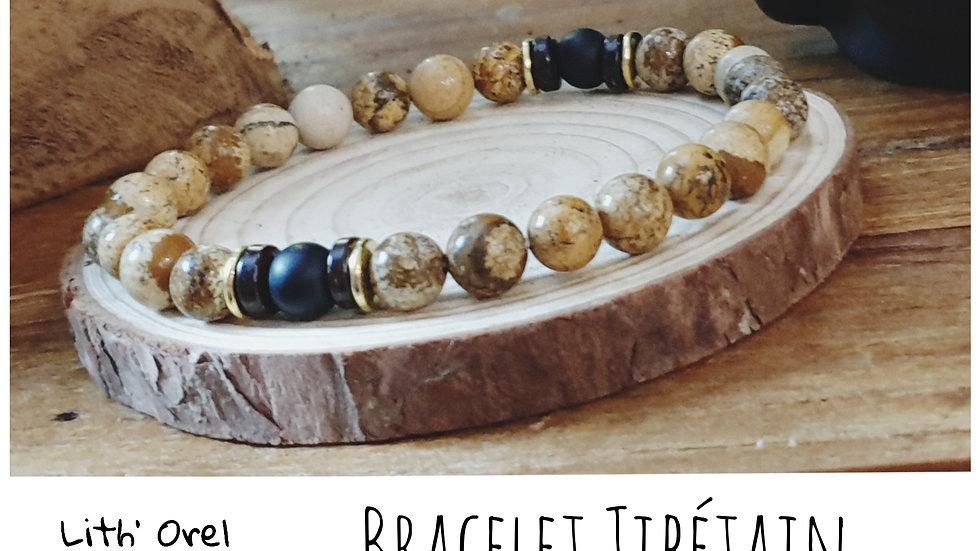 Bracelet Tibétain oeil de tigre et basalte