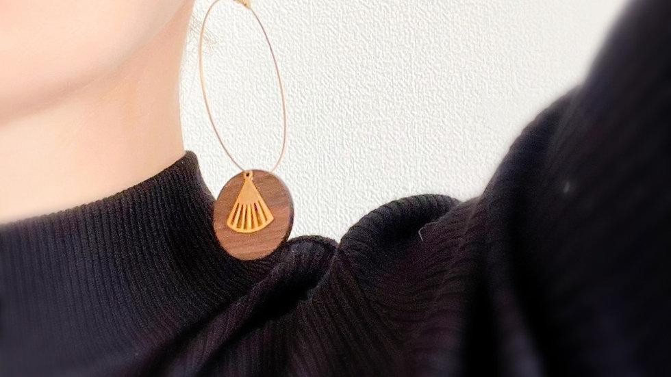 Boucles d'oreilles en bois et acier