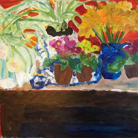 Flowers on table with red