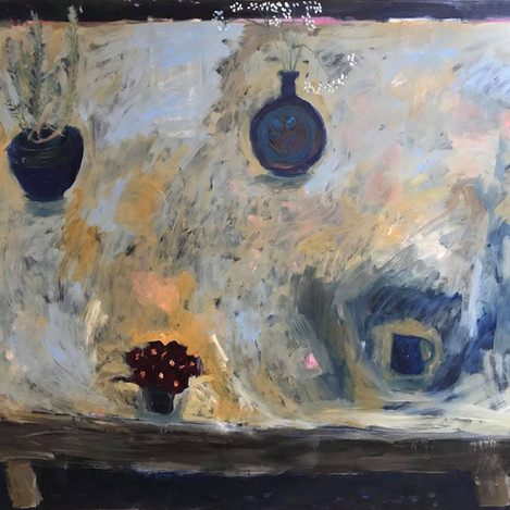 Dark table, primulas