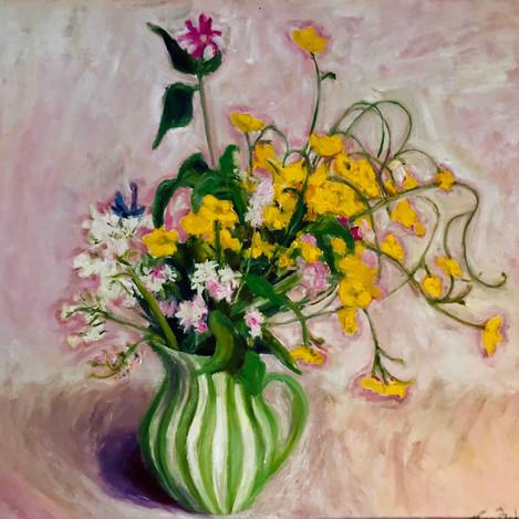 Buttercups, Yolande's jug, pink