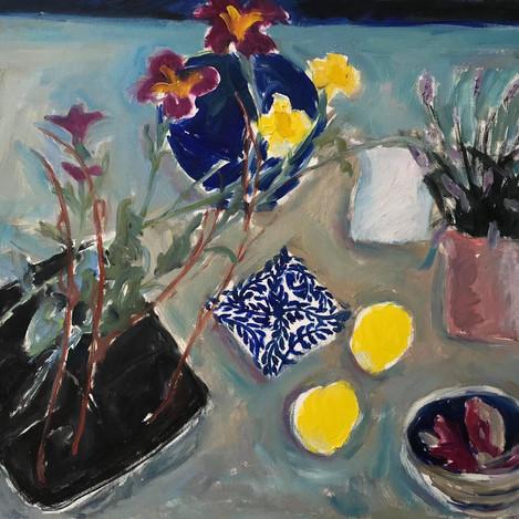 Plants, jugs, bowls, lemons