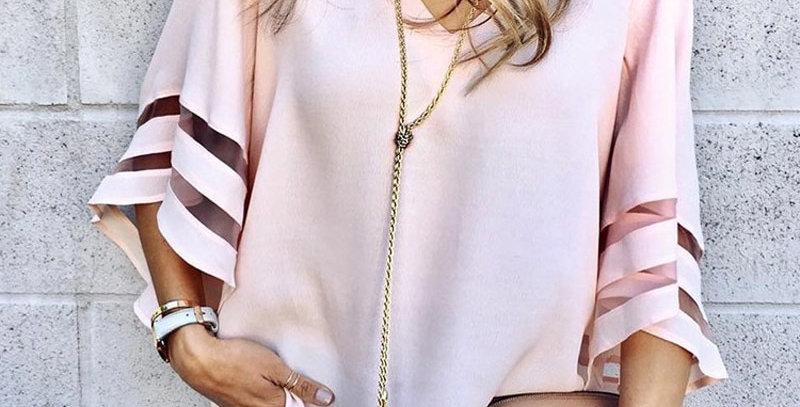 Women v Neck Flared Sleeves Blouse Plus Size
