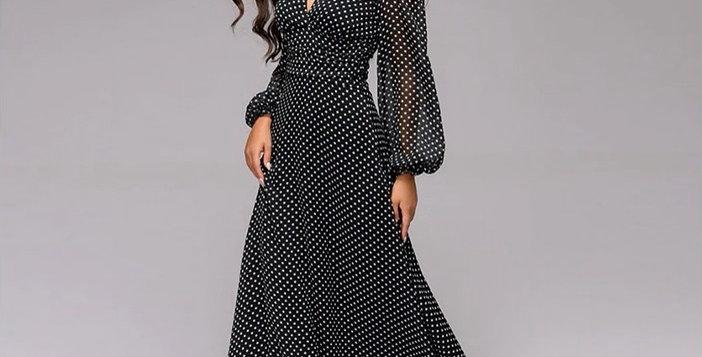 Retro Dot Printed Women Dress Deep V-Neck