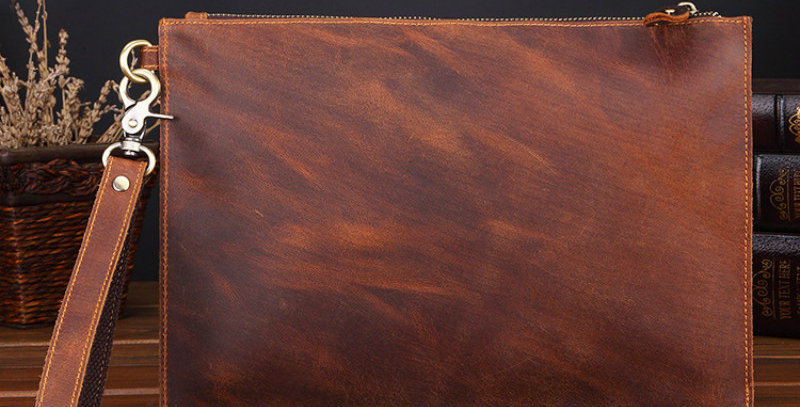 Crazy Horse Real Genuine Leather Men Envelope Clutch Wallet
