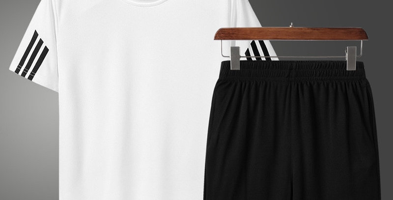 Sweat Suit Striped Short Sleeve T-Shirt Shorts Sets  2 Pcs