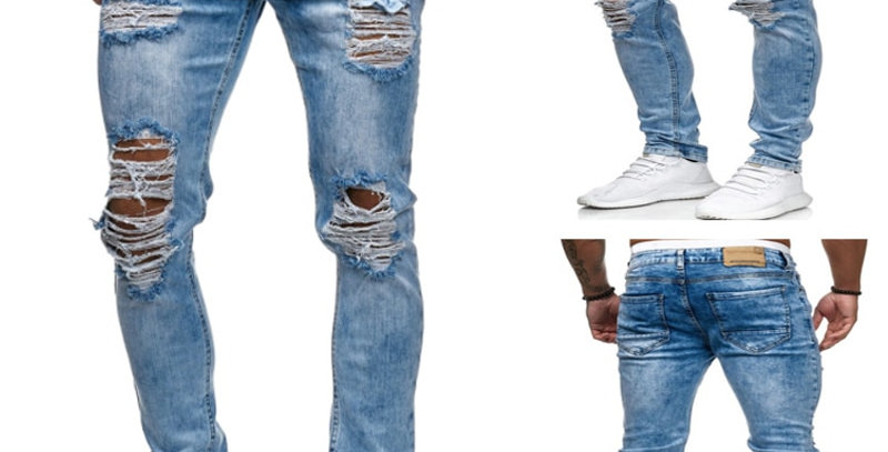 Destroyed Ripped Jeans Men Skinny Mens