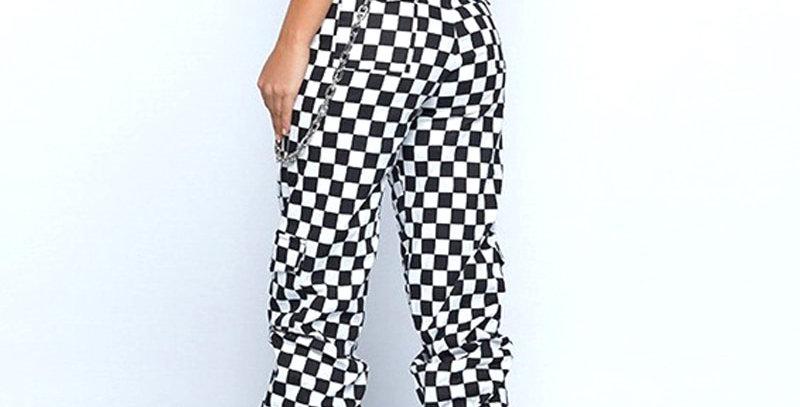 Women Plaid Pants Hip Hop High Waist Joggers Loose Pants