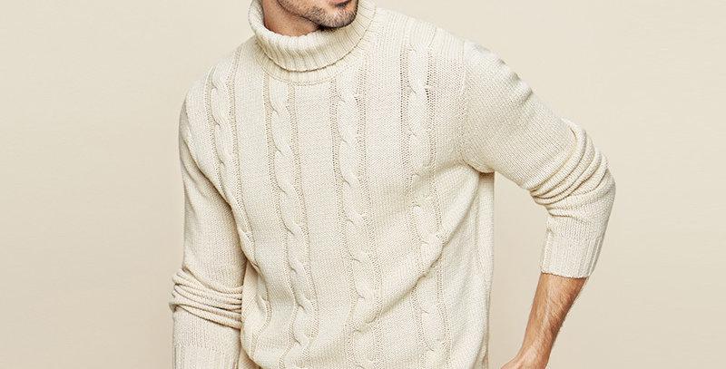 KUEGOU Cotton Khaki Turtleneck Sweater Men Pullover Casual Jumper