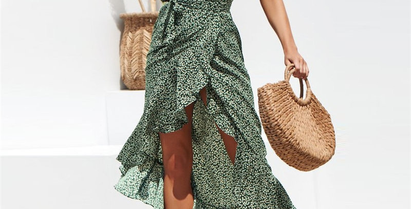 Maxi Dress Women Floral Print Boho