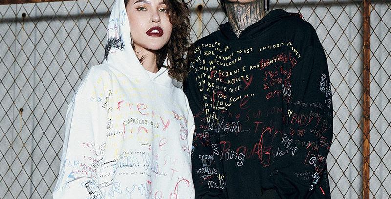 Graffiti Hoodie Sweatshirt Mens Hip Hop Cotton
