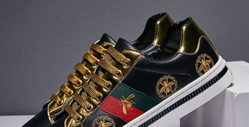 Black Embroidered Bee Casual Shoes