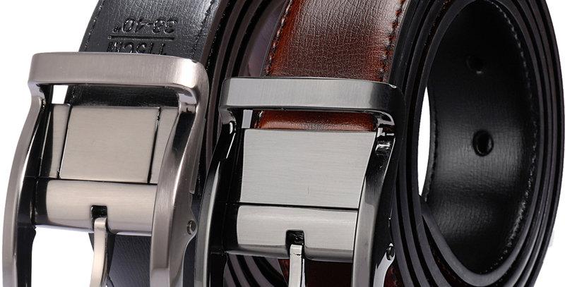 Men's Genuine Leather Dress Belt, Reversible Belt for Men Two in One 3.4cm