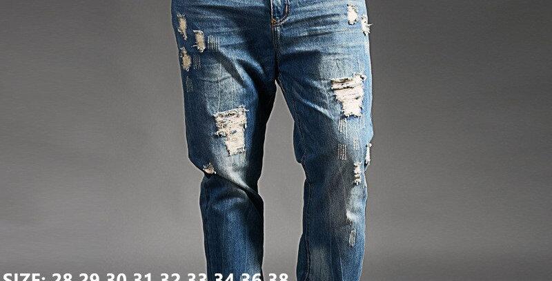 Ripped Jeans for Men Blue Black Denim Mens Jean Plus Size