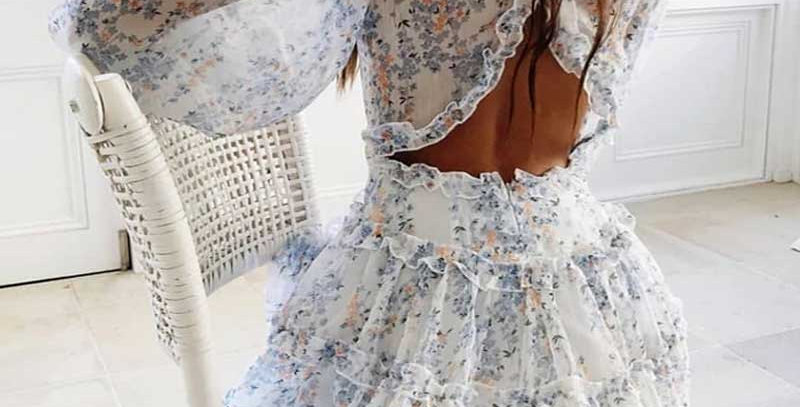 Chiffon Floral Print Ruffle Dress