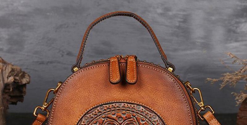 Women Messenger Shoulder Bags Handle Genuine Leather