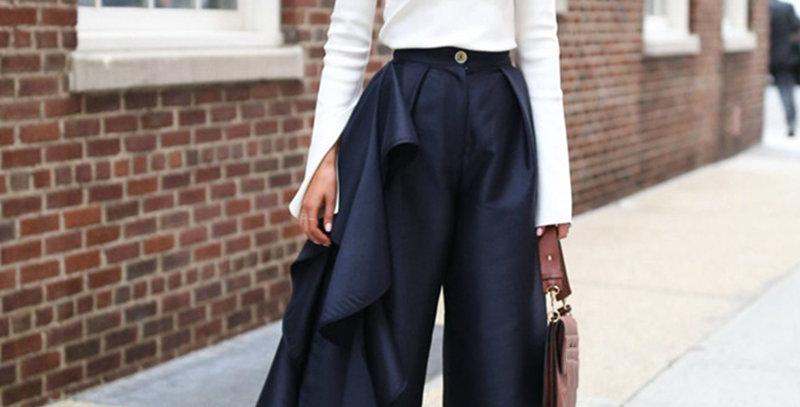 Ruffles Patchwork Pants for Women High Waist Large Size