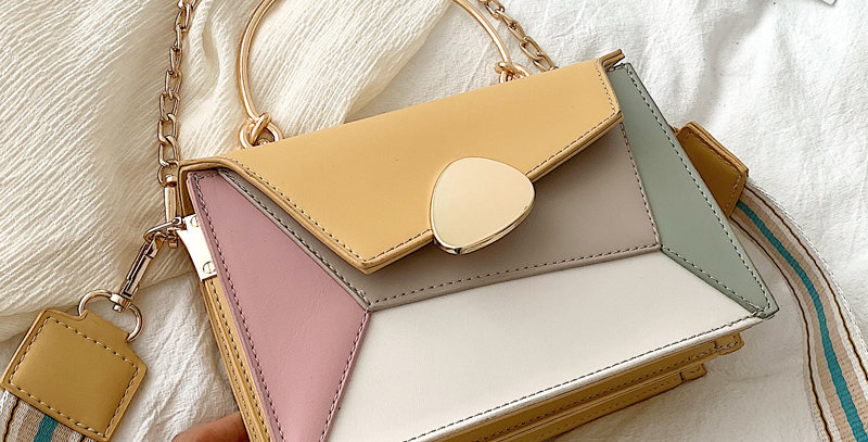 Contrast Color PU Leather Crossbody Bags for Women