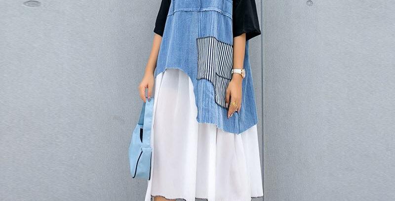 Patchwork Chiffon Dress Women Plus Size