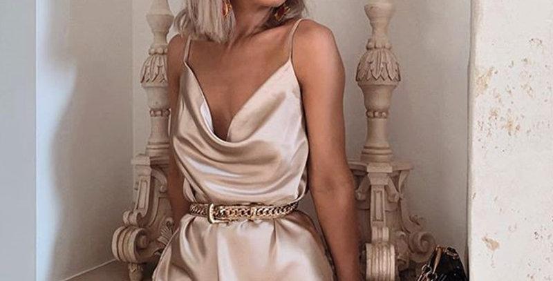 Champagne Satin Dress