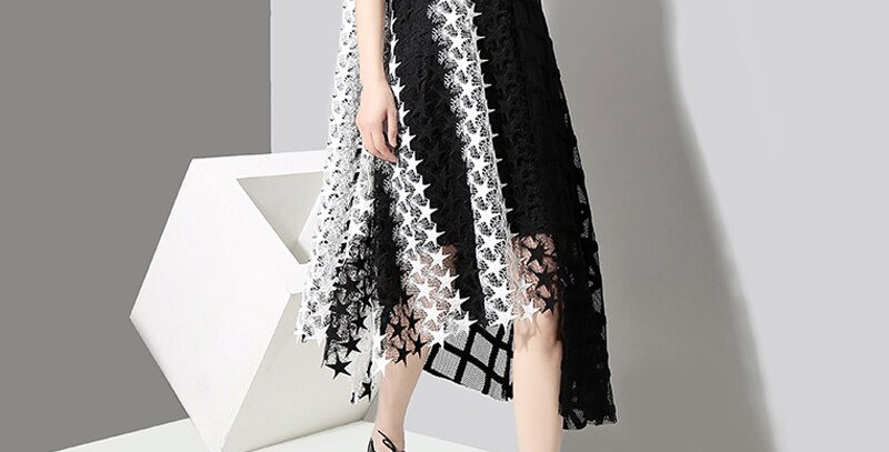 Long Black White Transparent Lace Dress Asymmetrical