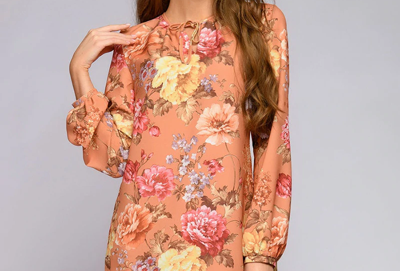 Autumn Lace Up Printed Straight Dress