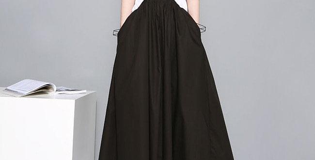 Black Long Maxi Skirt Elastic Waist