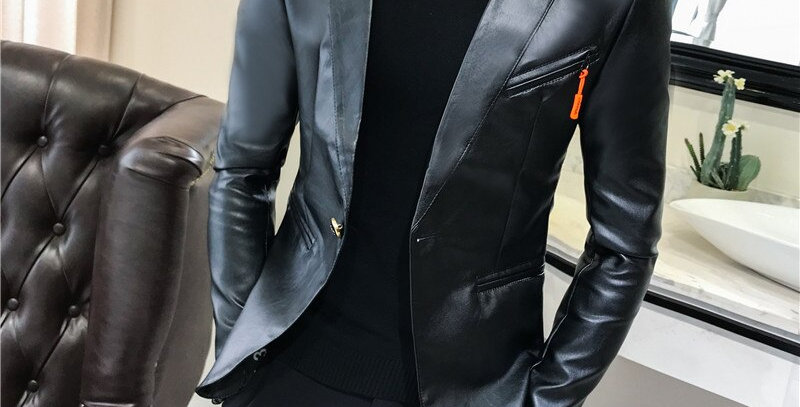 Faux Leather Suit Jacket Men Slim Fitted Blezer Male