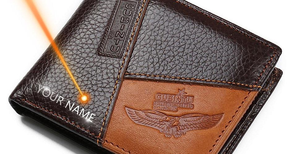 GUBINTU Genuine Leather Men Wallets Coin Pocket Zipper