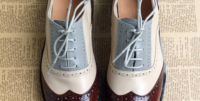 Genuine Leather Women Oxford Flat Shoes