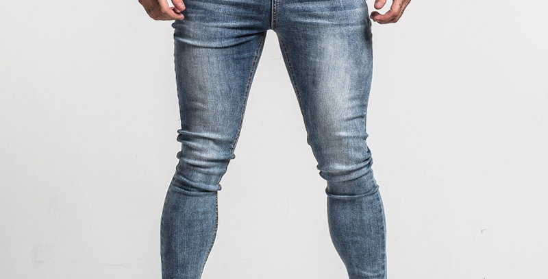 Gingtto Men's Skinny Jeans Faded Blue Middle Waist Classic