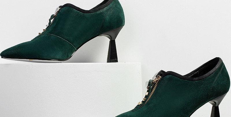 Unusual Heels High Women Pointed Toe Footwear Fashion Studded Leather