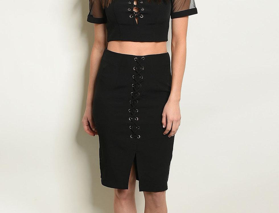 Womens Black Top & Skirt Set