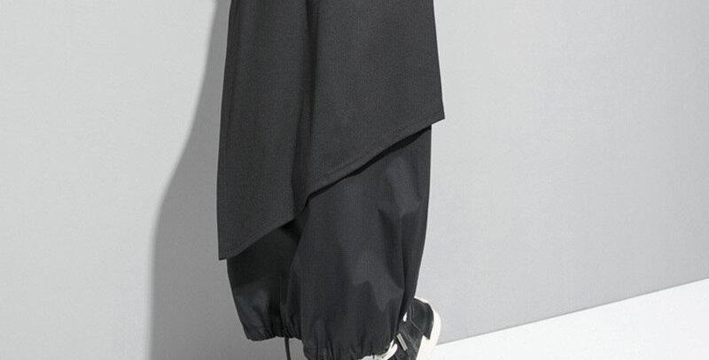 High Elastic Waist Black Drawstring Split Joint