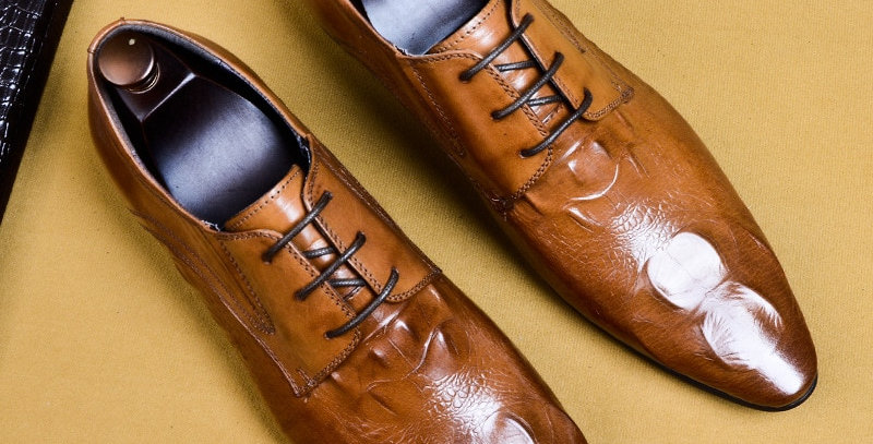 Crocodile Print Men's Shoes Suit Business Shoes in Genuine Leather