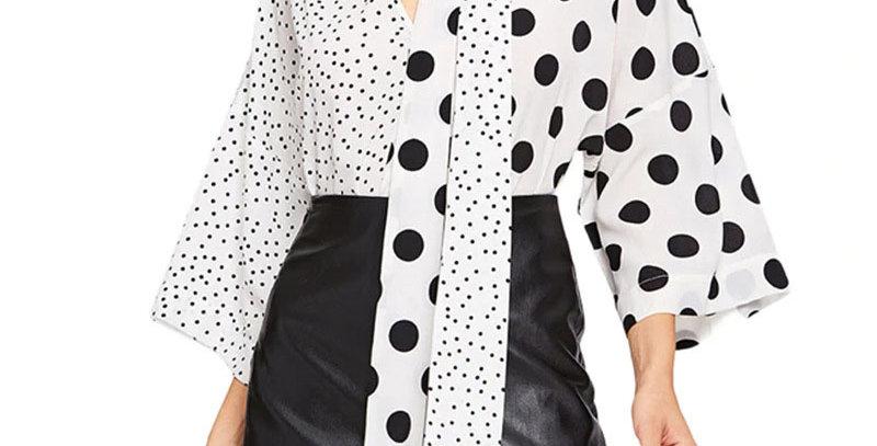 Black White Polka Dot Print Blouse Shirt Women