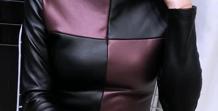 Long Sleeve Turtleneck PU Leather