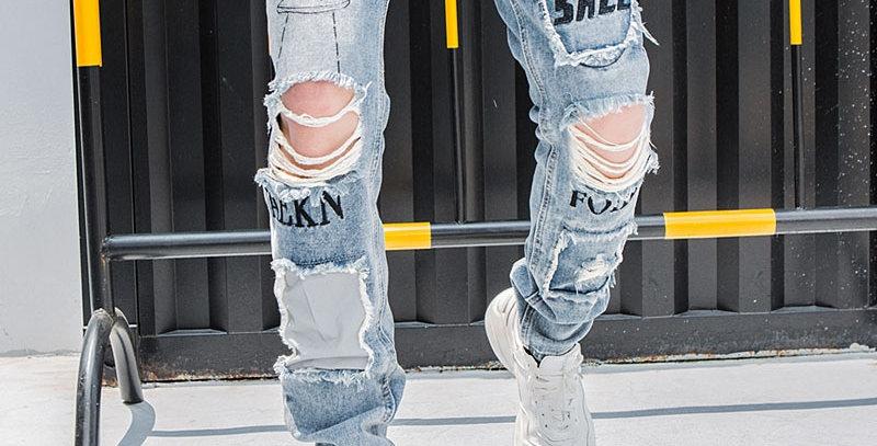 Aolamegs Biker Jeans Men Reflective Vintage