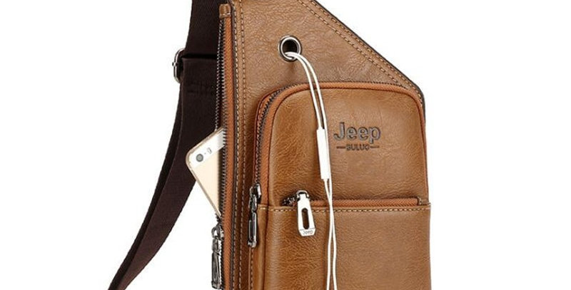 JEEP BULUO Man's Sling Bag Leather Mens Chest Bags