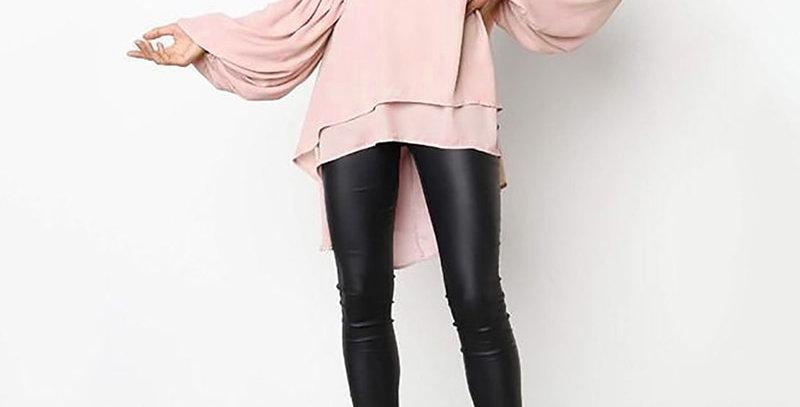 Fashion Puff Sleeve Top Women's Asymmetrical Blouse  Plus Size Tunic