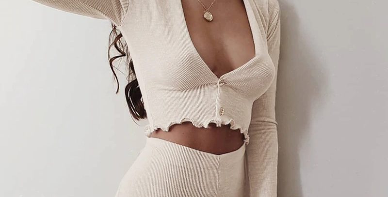Cotton Ribbed Knitted Deep V-Neck T-Shirt
