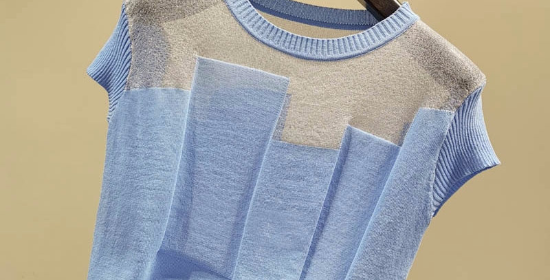 Patchwork Ice Silk Knitted Sweater