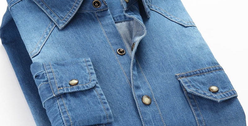 Men Denim Thin Shirt Long Sleeve oft 100% Cotton Slight Elastic Jeans Cowboy 4XL