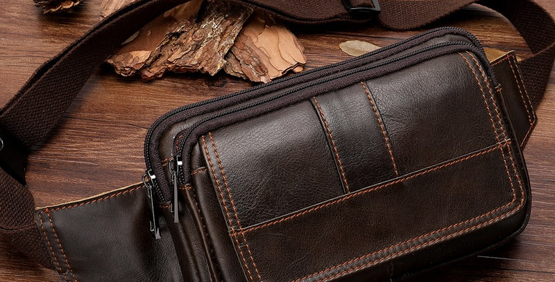 MVA Men's Waist Bag Leather Male Fanny Pack Money