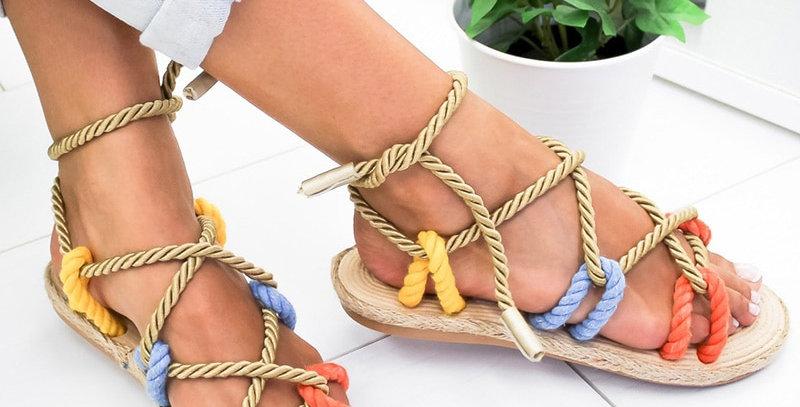 Women Sandals Lace Up  Sandals Fashion Hemp Rope Shoes Sandals Non-Slip