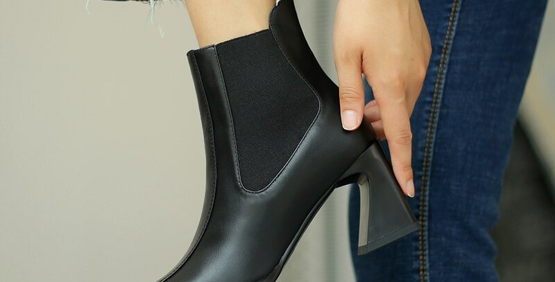 Ankle Boots Women Cow Leather