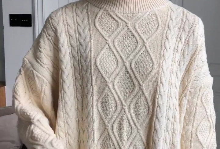 Colorfaith Women Pullovers Sweater Oversize Knitting Loose