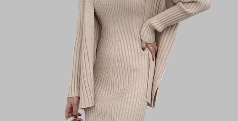 Suspender Vest Dress + Women Cardigan 2pcs Suits